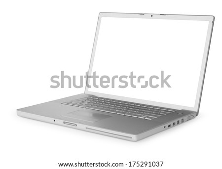 Laptop isolated - stock photo