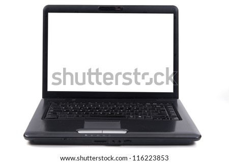 laptop isolated in white - stock photo