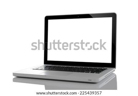 Laptop isolated on white background - stock photo
