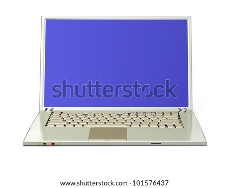 Laptop isolated on white background. 3d rendered image - stock photo