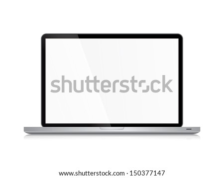 Laptop isolated on white background with are for copy space - stock photo