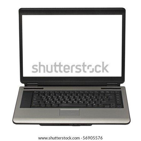 laptop isolated on white background with clipping path - stock photo