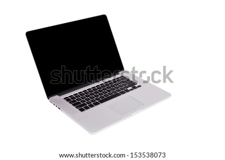 Laptop isolated on white background with clipping paths - stock photo