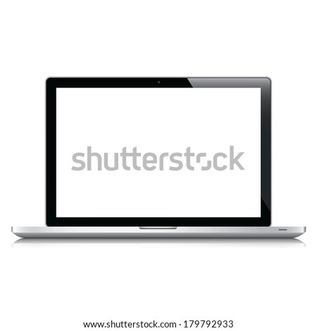 Laptop isolated on white. Modern high quality electronic device. - stock photo