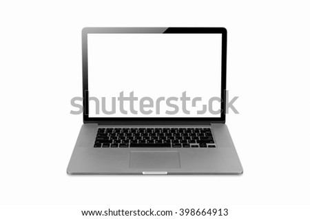 laptop isolated on white with clipping path, Blank white space on the screen. - stock photo