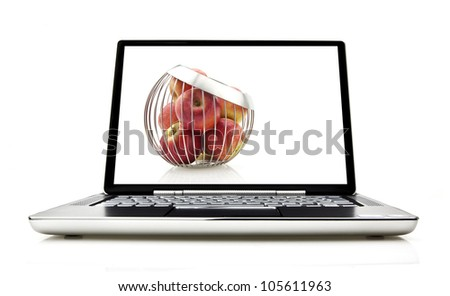 Laptop isolated on white with screen showing concept for laptop security - stock photo