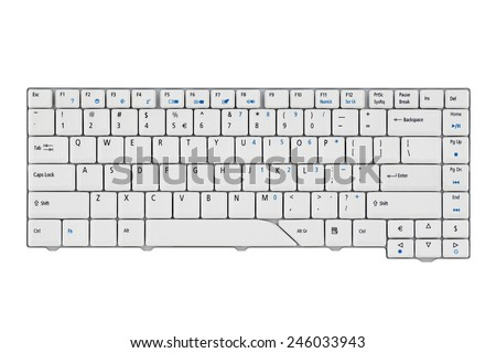 Laptop keyboard on a white background. - stock photo
