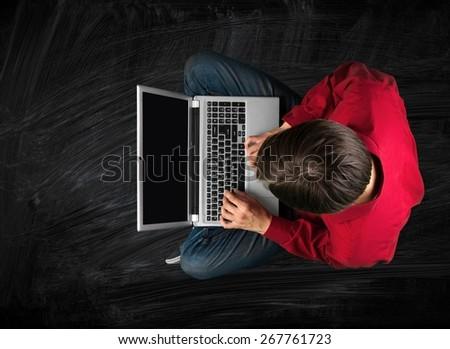 Laptop. Laptop Man - stock photo