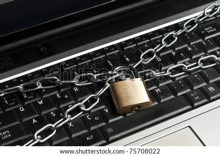 Laptop locked extreme close up - stock photo