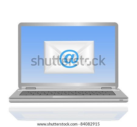 laptop mail on a white background - stock photo