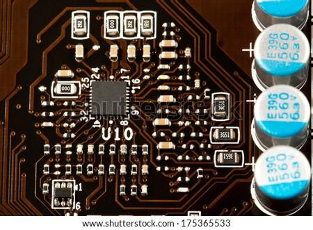 Laptop motherboard closeup view - stock photo