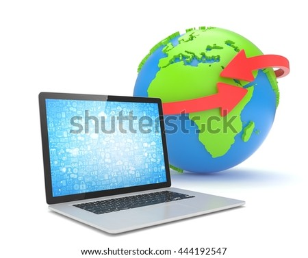 Laptop network and earth globe. 3d rendering. - stock photo