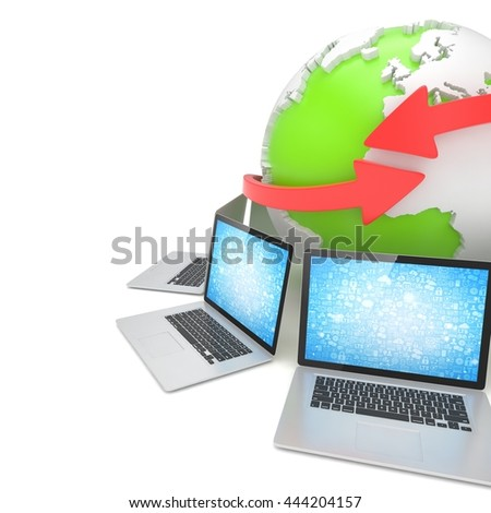 Laptop network around earth globe. 3d rendering. - stock photo