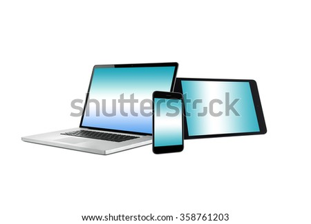 Laptop notebook computer, mobile phone and digital tablet - stock photo