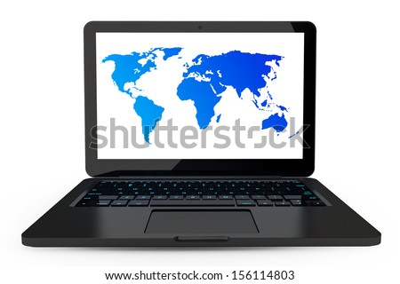 Laptop on a white background with high detailed World map on screen - stock photo