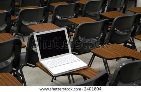 laptop on desk - stock photo