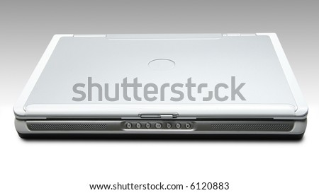 Laptop on Gradient background (Includes clipping mask for laptop) - stock photo