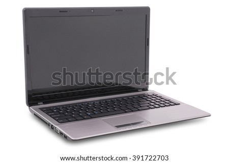 Laptop on white background. Clipping path included. Separate clipping path to the screen - stock photo