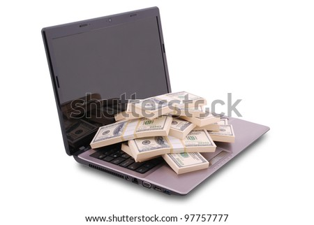 Laptop on white background. Dollars are on the keyboard. Clipping path included. Separate clipping path to the screen - stock photo