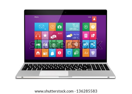 Laptop on white background. Front - stock photo