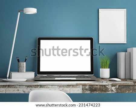 Laptop on wooden table, Blue wall painted, 3d illustration - stock photo