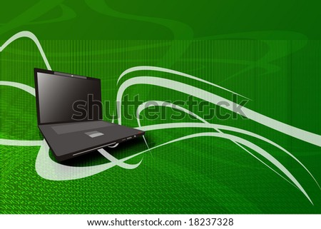 Laptop over background. - stock photo