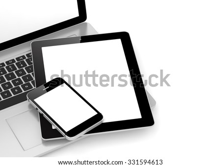 Laptop, phone and tablet pc. - stock photo