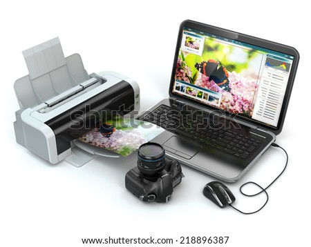 Laptop, photo camera and printer. Preparing images for print. 3d - stock photo