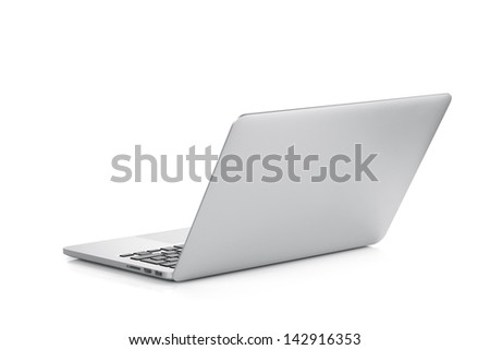 Laptop. Rear view. Isolated on white background - stock photo