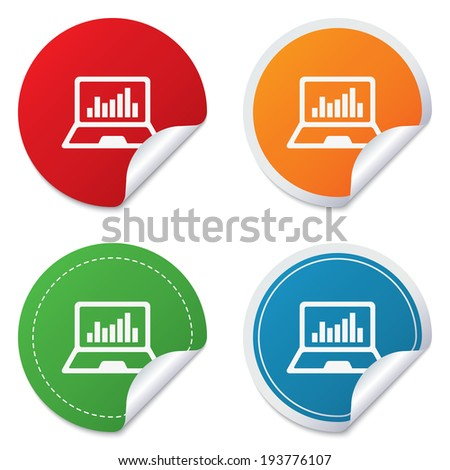 Laptop sign icon. Notebook pc with graph symbol. Monitoring. Round stickers. Circle labels with shadows. Curved corner. - stock photo