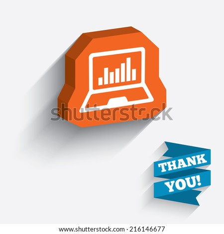 Laptop sign icon. Notebook pc with graph symbol. Monitoring. White icon on orange 3D piece of wall. Carved in stone with long flat shadow. - stock photo