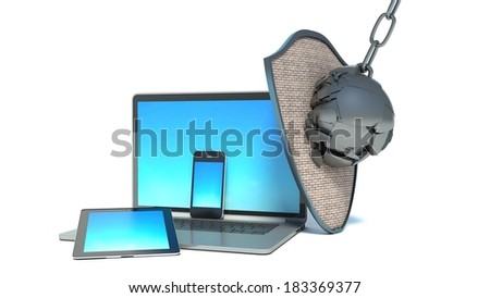 laptop, smart-phone and tablet PC with shield - internet security - stock photo