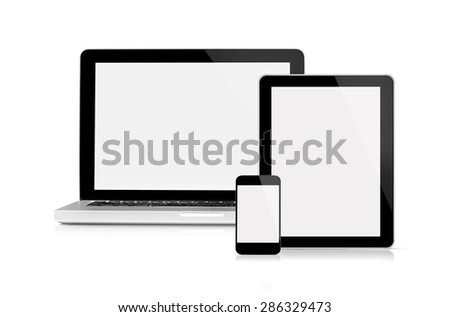 Laptop, tablet and mobile phone - This is a front view of Macbook Pro, iPhone and iPad Apple Inc with blank screen, isolated on white. - stock photo