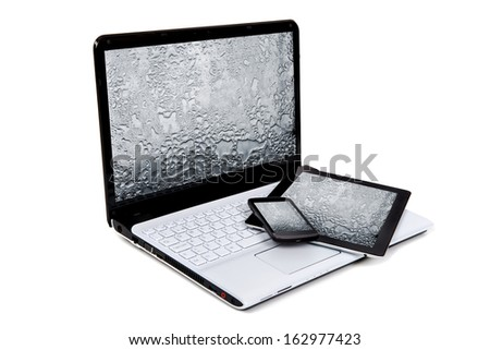 Laptop, tablet and phone isolated in white - stock photo