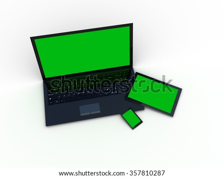 Laptop, tablet and smartphone on white background - stock photo