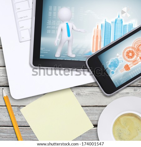 Laptop, tablet pc and smartphone on old wooden boards. Computer technology concept - stock photo