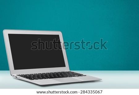 Laptop, white, open. - stock photo