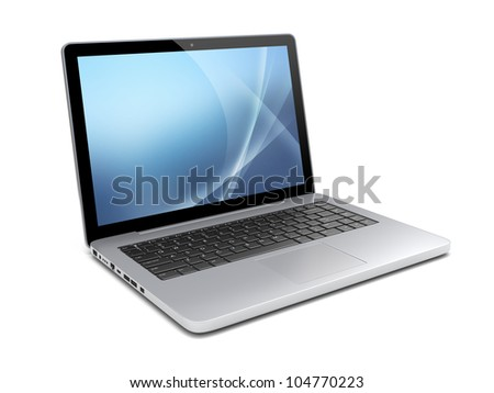 Laptop with a blue background on screen. Isolated on a white. 3d image 	 - stock photo