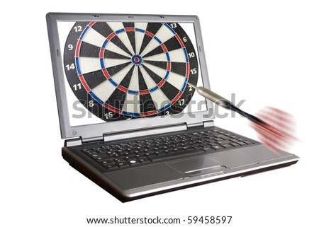 laptop with an arrow going towards it - stock photo