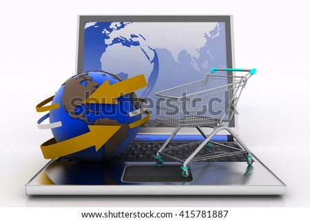Laptop with arrow and Shopping cart with a globe. The concept of buying gifts and commodities on the Internet. 3d illustration on white background - stock photo