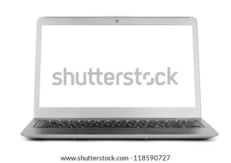 Laptop with blank screen. Isolated on a white - stock photo