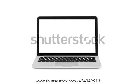 Laptop with blank screen isolated on white background with clipping path - stock photo