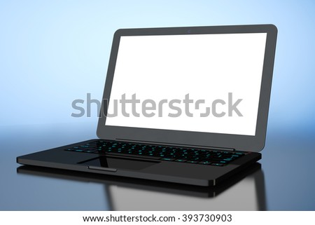 Laptop with Blank Screen on a blue background - stock photo