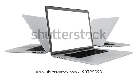 Laptop with blank white screen. Isolated on white background - stock photo