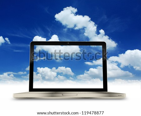 Laptop with Blue sky background. - stock photo