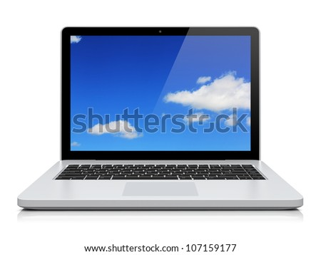 Laptop with blue sky background on the screen. Isolated on a white. 3d image 	 - stock photo