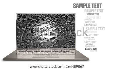 laptop with broken screen isolated on white background High resolution 3d  - stock photo