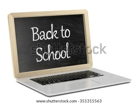 Laptop with chalkboard, back to school, online education concept - stock photo