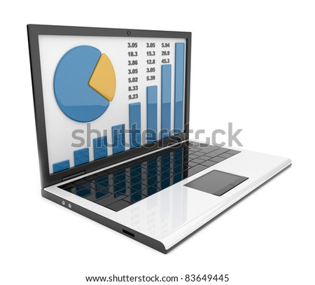Laptop with chart. Business success. Isolated on white background - stock photo