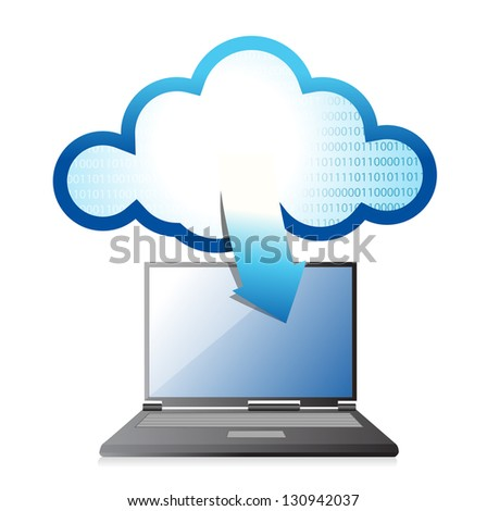 Laptop with cloud computing symbol on a screen illustration design - stock photo